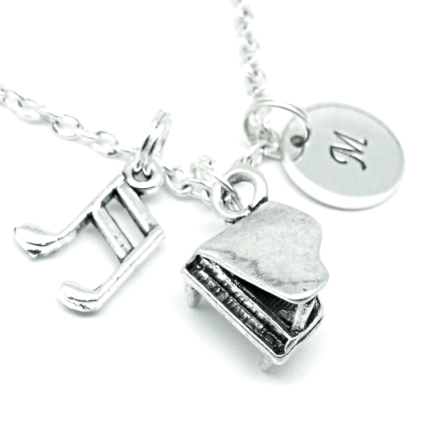 3D Grand piano pendant necklace jewellery gift